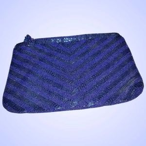 VTG Designer Genie Blue Glass Beaded Purse